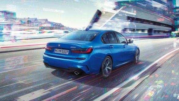 BMW 3er Limousine Heck mit L-Form-Lichtgrafik
