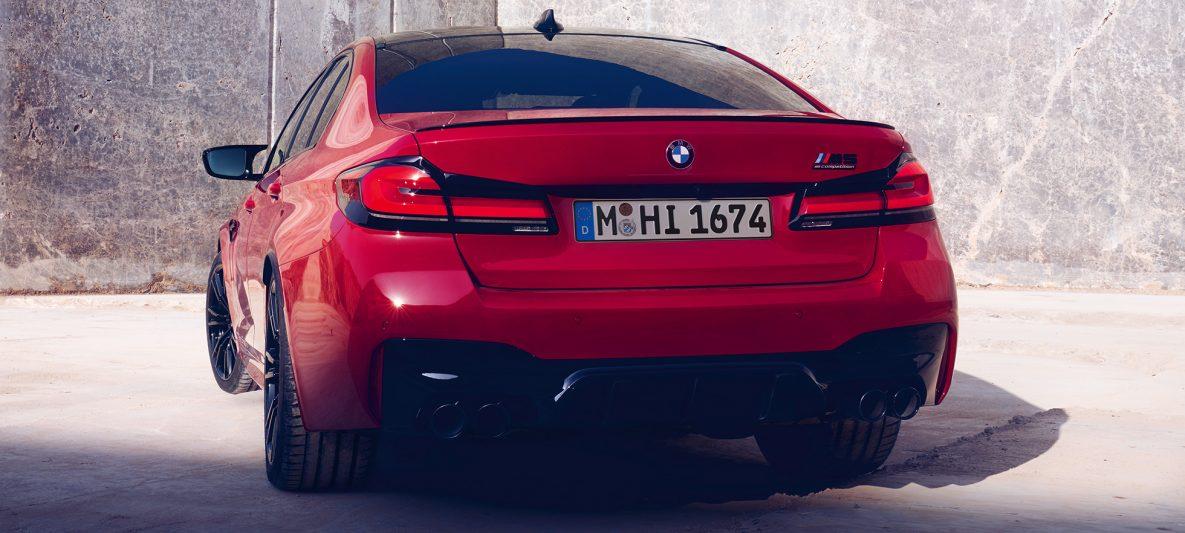 Heckleuchten BMW M5 Competition F90 LCI Facelift 2020 BMW Individual Imola Rot Heckansicht